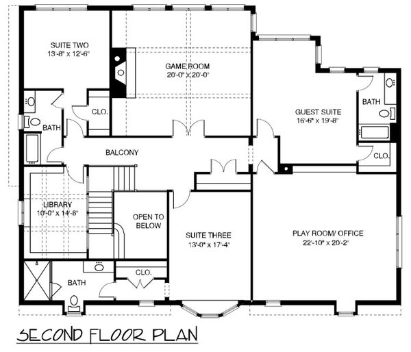 European Floor Plan - Upper Floor Plan Plan #413-892