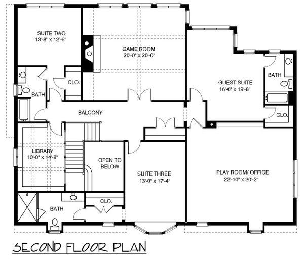 European Floor Plan - Upper Floor Plan Plan #413-892