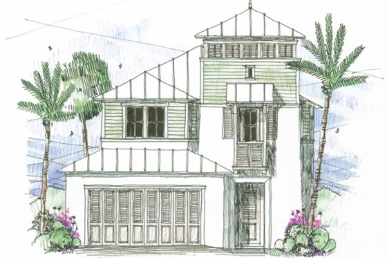 Beach Exterior - Front Elevation Plan #426-12