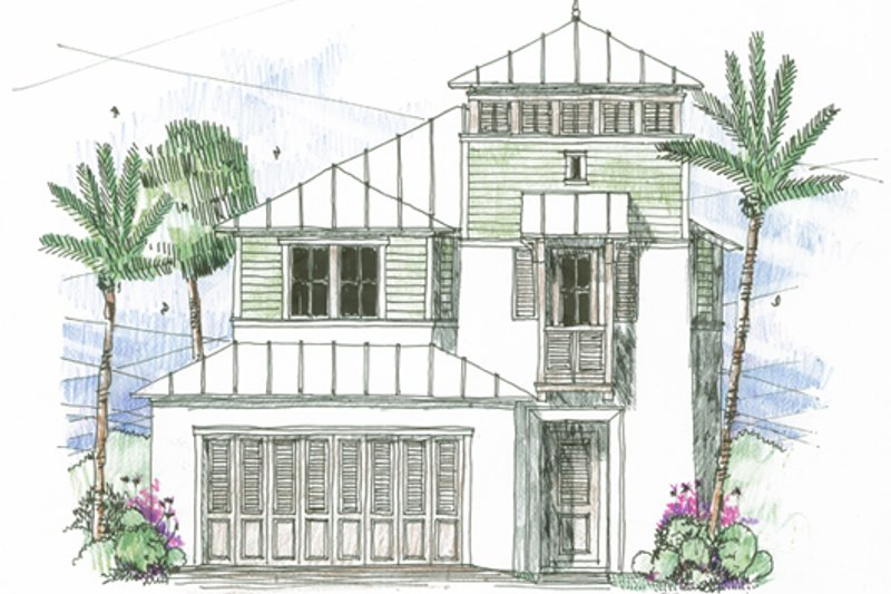 Beach Style House Plan - 3 Beds 2.5 Baths 2034 Sq/Ft Plan #426-12 Exterior - Front Elevation