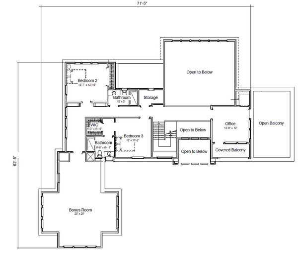 Adobe / Southwestern Floor Plan - Upper Floor Plan Plan #451-25