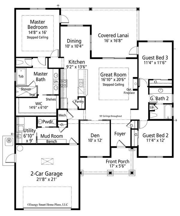 Craftsman Floor Plan - Main Floor Plan Plan #938-101