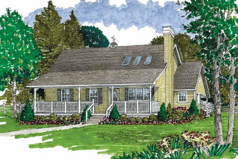 Country Style House Plan - 3 Beds 2 Baths 1455 Sq/Ft Plan #47-646