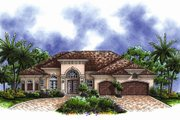 Mediterranean Style House Plan - 3 Beds 3 Baths 2660 Sq/Ft Plan #27-438 Exterior - Front Elevation
