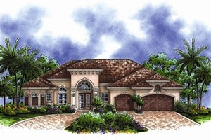 Mediterranean Exterior - Front Elevation Plan #27-438