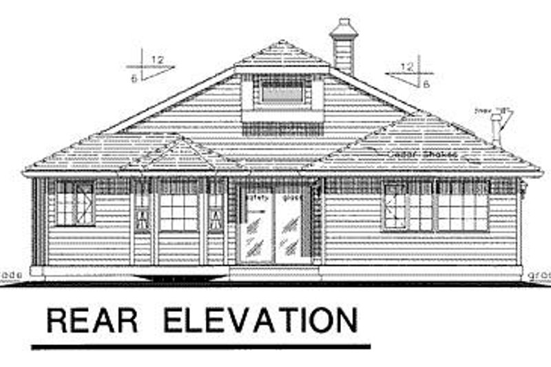 Ranch Exterior - Rear Elevation Plan #18-142 - Houseplans.com
