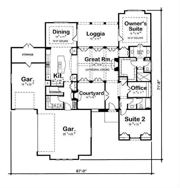 European Floor Plan - Main Floor Plan Plan #20-2071