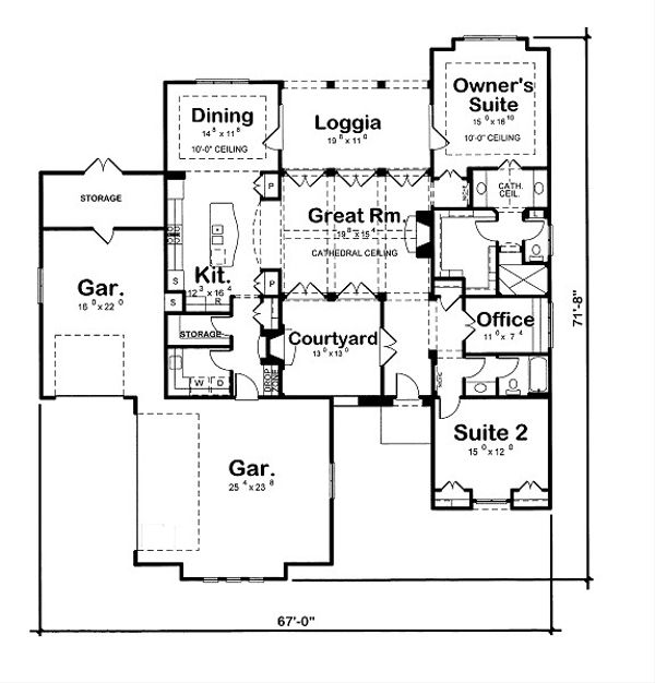 European Floor Plan - Main Floor Plan Plan #20-2071