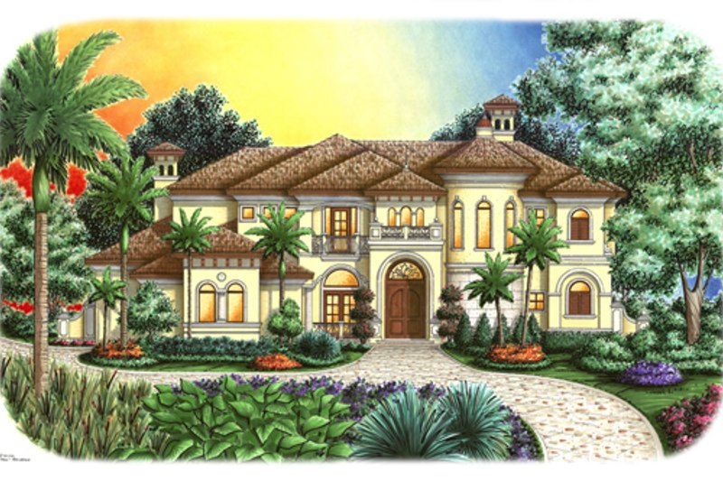 European Style House Plan - 4 Beds 4.5 Baths 5164 Sq/Ft Plan #27-431 Exterior - Front Elevation
