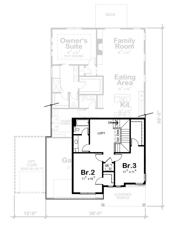 Craftsman Floor Plan - Upper Floor Plan Plan #20-2359