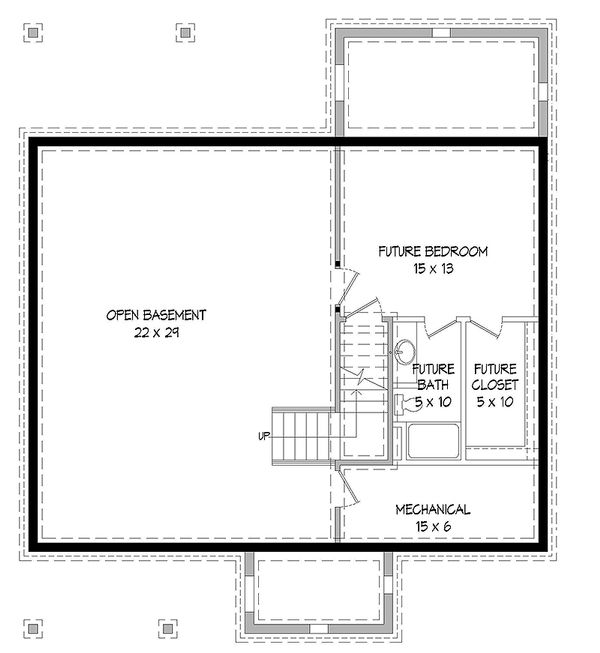 Country Floor Plan - Lower Floor Plan Plan #932-12
