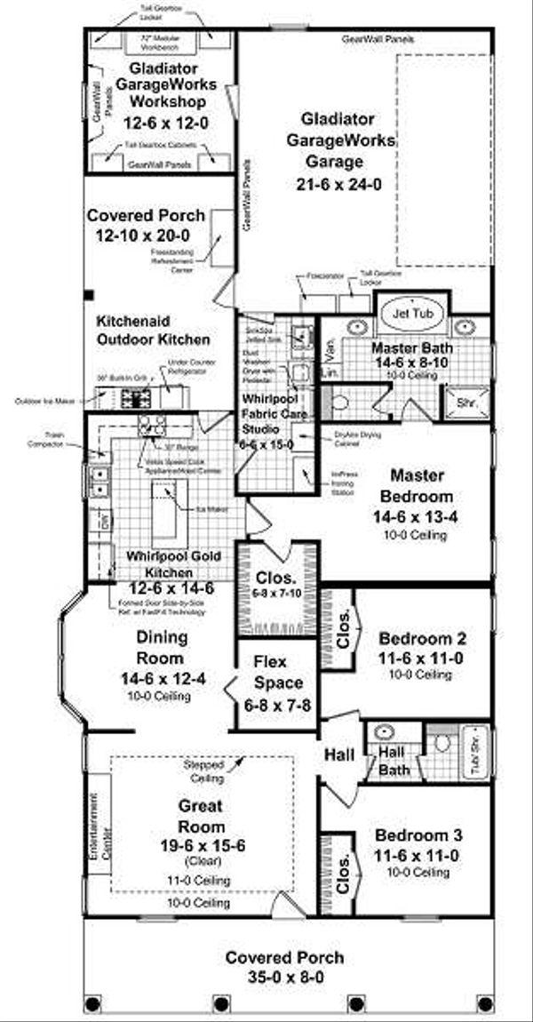 Southern Floor Plan - Main Floor Plan Plan #21-229