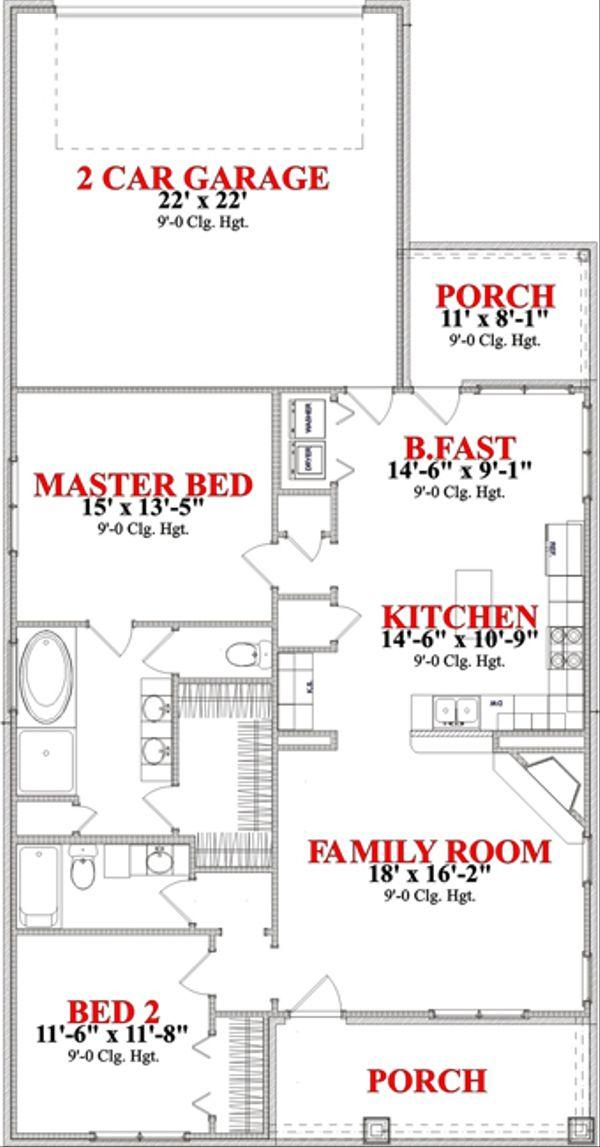 Bungalow Floor Plan - Main Floor Plan Plan #63-249