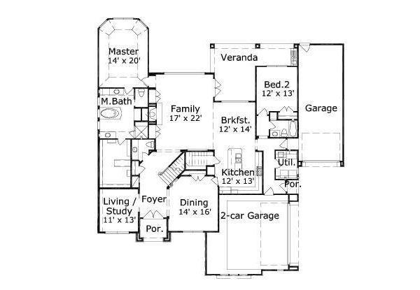 European Floor Plan - Main Floor Plan Plan #411-675
