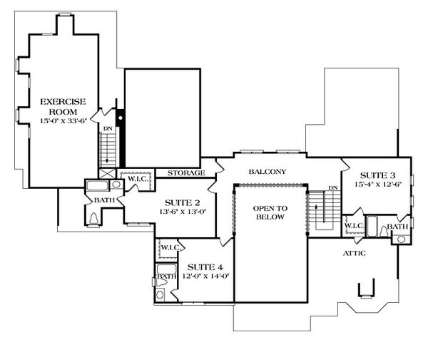 European Floor Plan - Upper Floor Plan Plan #453-21