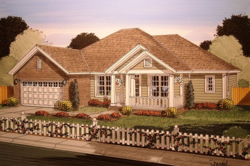 Country Exterior - Front Elevation Plan #513-16 - Houseplans.com