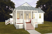 Cottage Style House Plan - 2 Beds 2 Baths 832 Sq/Ft Plan #514-20 Exterior - Front Elevation
