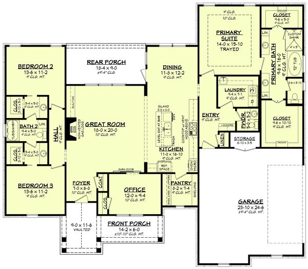 Home Plan Design - Farmhouse Floor Plan - Main Floor Plan #430-234
