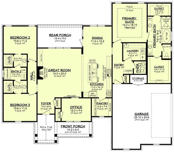 House Plan Design - Farmhouse Floor Plan - Main Floor Plan #430-234