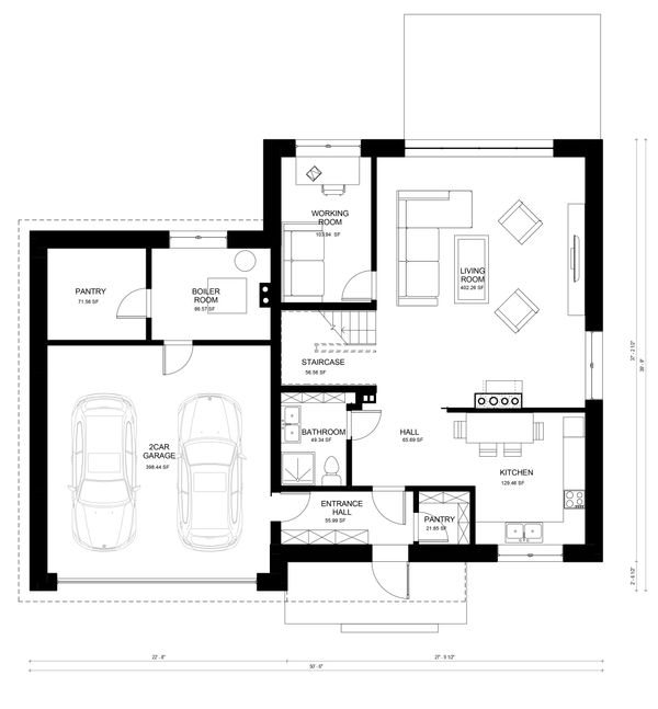 Contemporary Floor Plan - Main Floor Plan Plan #906-5