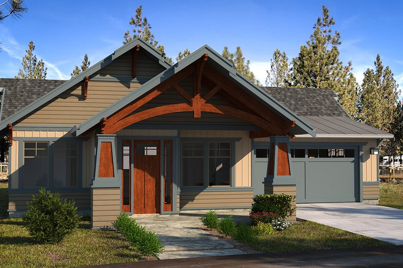 Craftsman Style House Plan - 3 Beds 2 Baths 1603 Sq/Ft Plan #895-109 Exterior - Front Elevation