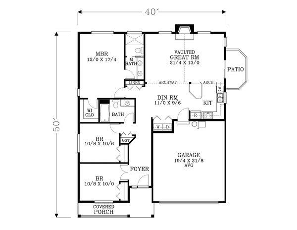 Dream House Plan - Craftsman Floor Plan - Main Floor Plan #53-600