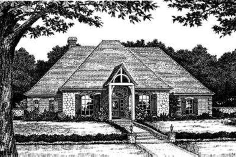 European Style House Plan - 4 Beds 3 Baths 2389 Sq/Ft Plan #310-191 Exterior - Front Elevation