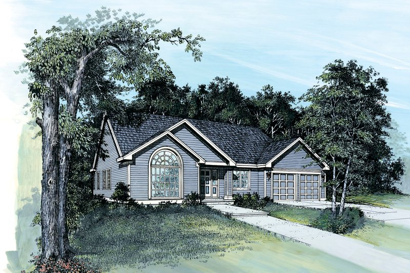 Ranch Exterior - Front Elevation Plan #48-589