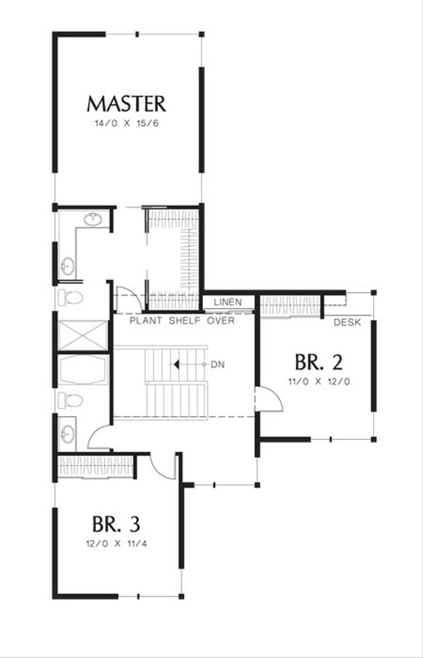 Modern Floor Plan - Upper Floor Plan Plan #48-534