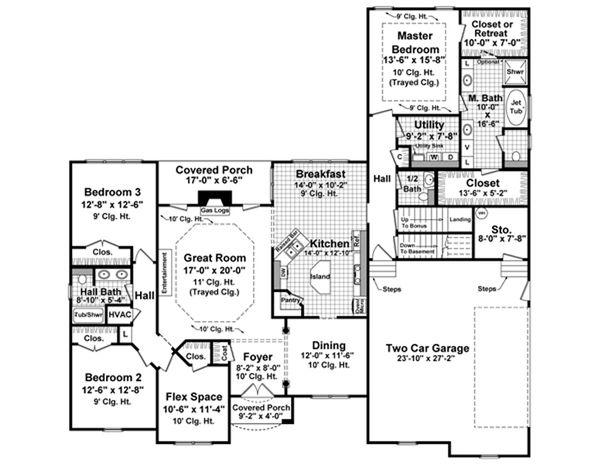 European Floor Plan - Main Floor Plan Plan #21-336