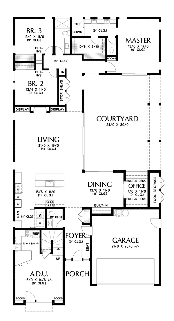 Contemporary Floor Plan - Main Floor Plan Plan #48-1023