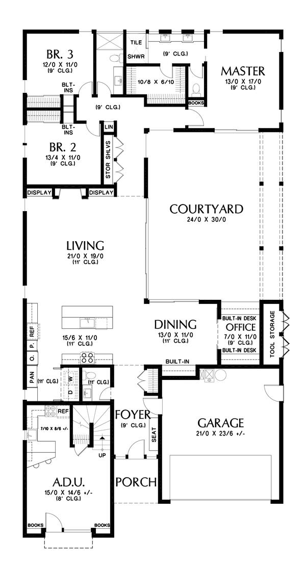 Dream House Plan - Contemporary Floor Plan - Main Floor Plan #48-1023