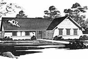 Ranch Style House Plan - 3 Beds 2 Baths 1346 Sq/Ft Plan #36-364 Exterior - Front Elevation