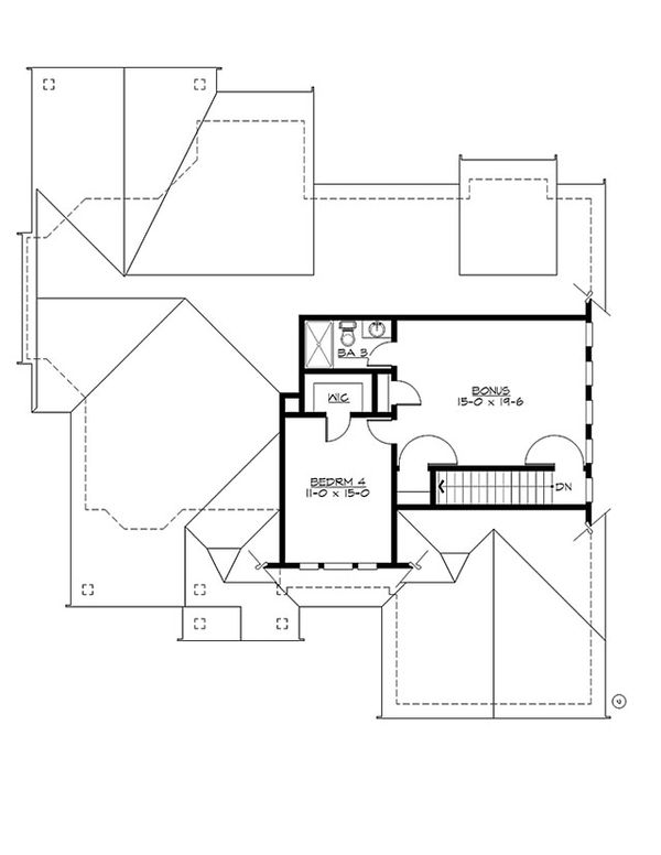 Craftsman Floor Plan - Upper Floor Plan Plan #132-202