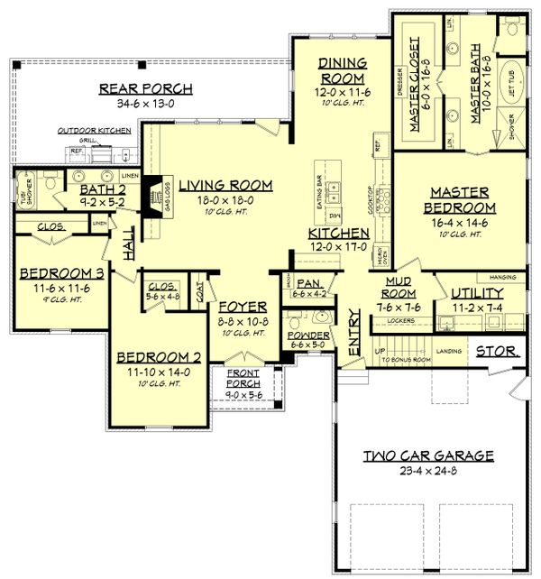 European Floor Plan - Main Floor Plan Plan #430-131