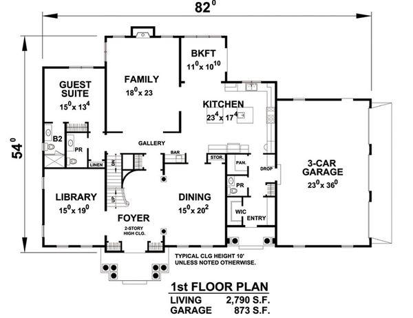 Colonial Floor Plan - Main Floor Plan Plan #20-2277