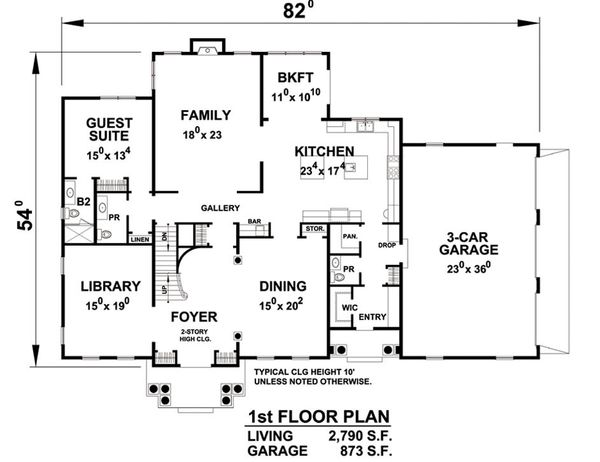 Architectural House Design - Colonial Floor Plan - Main Floor Plan #20-2277