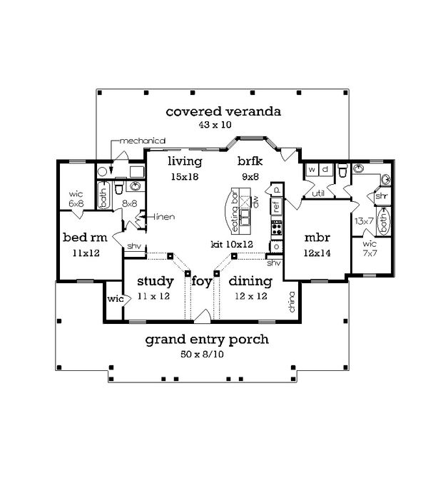 Cottage house plan, beach style, floor plan