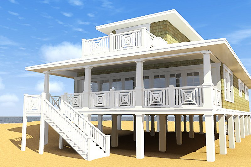 Beach Exterior - Rear Elevation Plan #64-205 - Houseplans.com