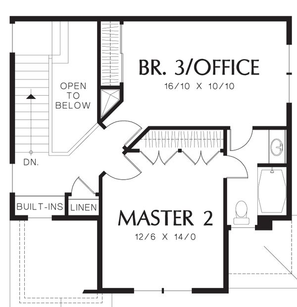 Craftsman Floor Plan - Upper Floor Plan Plan #48-552