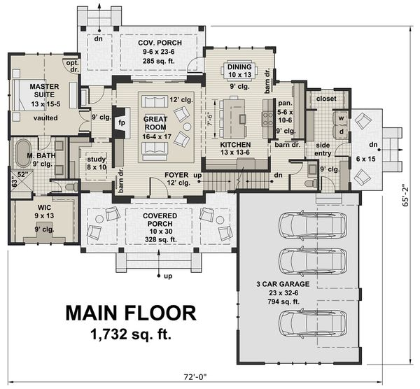 Farmhouse Floor Plan - Main Floor Plan Plan #51-1130