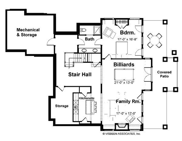 Craftsman Floor Plan - Lower Floor Plan Plan #928-7