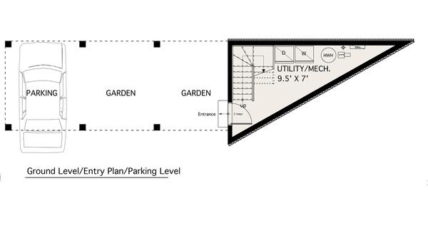 Modern design, 2 story studio plan, loft design, main floor plan