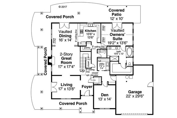 Country Floor Plan - Main Floor Plan Plan #124-1067