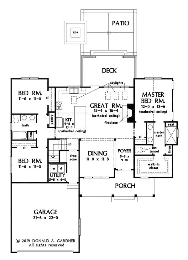 House Plan Design - Ranch Floor Plan - Main Floor Plan #929-1090