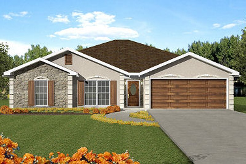 European Style House Plan - 3 Beds 2 Baths 1609 Sq/Ft Plan #44-138 Exterior - Front Elevation