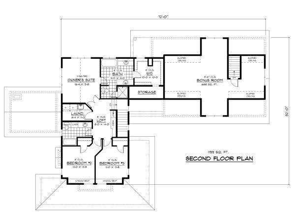 Farmhouse Floor Plan - Upper Floor Plan Plan #51-300