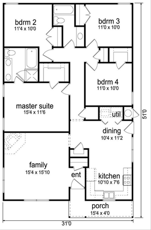 House Plan Design - Cottage Floor Plan - Main Floor Plan #84-543