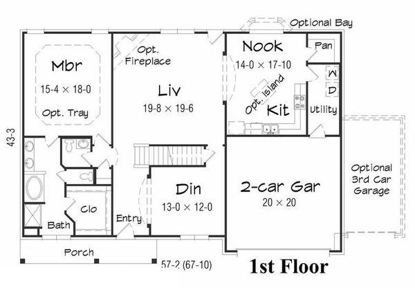 Farmhouse Floor Plan - Main Floor Plan Plan #329-387