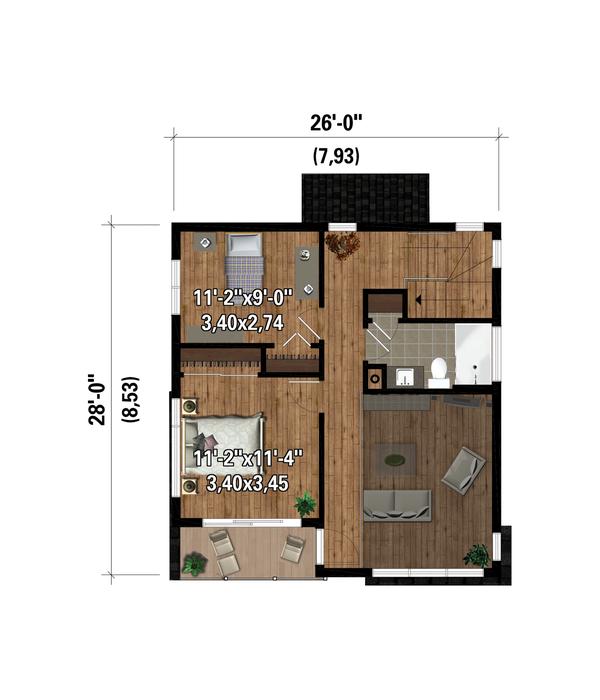 House Plan Design - Cottage Floor Plan - Upper Floor Plan #25-4924